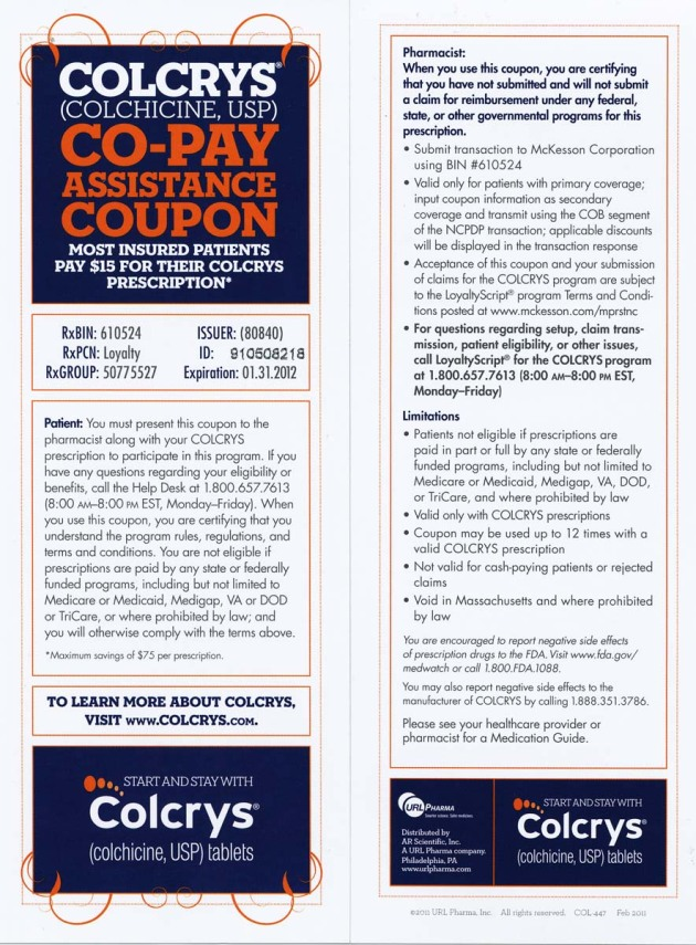 Colcrys (Colchicine, USP) $15* Co-Pay Assistance Coupon